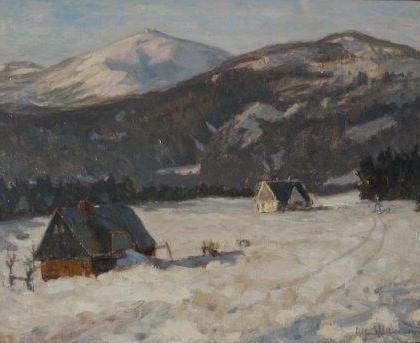 7. Alfons Niemann (1886-1968) Pejzaż z widokiem Śnieżki 1 połowa XX wieku technika: olej, sklejka wymiar: 45 x 35 cm