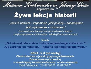 Plakat przedstawiający opis żywych lekcji historii