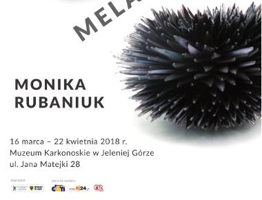 """Plakat zapraszający na wernisaż wystawy """"Melanż"""" Moniki Rubaniuk i Jerzego Zajączkowskiego."""