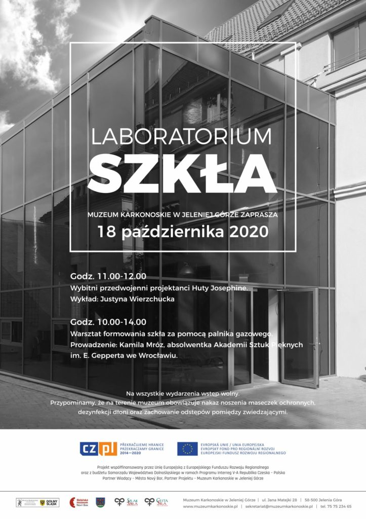 Na zdjęciu pllakat informacyjny Laboratorium Szkła z programem wydarzeń.