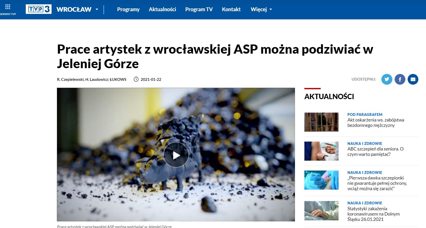 Na zdjęciu zrzut ekranu ze strony tvp3 Wrocław dotyczący publikacji o Muzeum