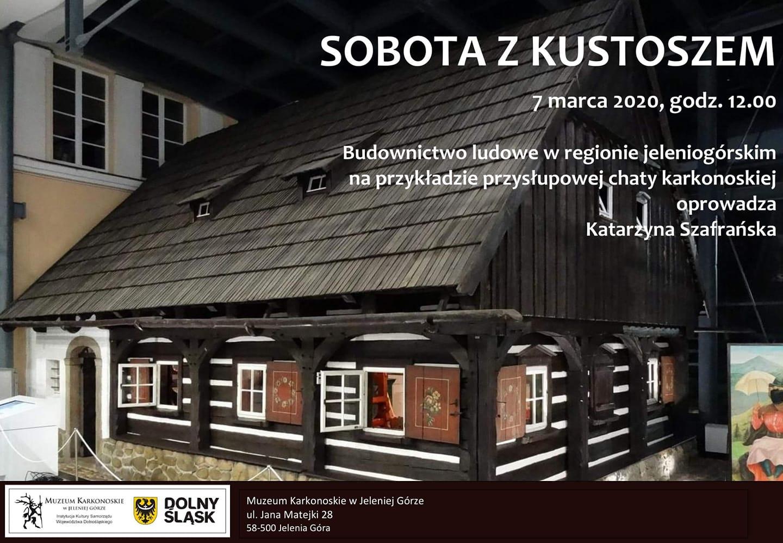 Plakat informujący o wydarzeniu, tłem plakatu jest chatka karkonoska, będąca elementem wystawy Muzeum